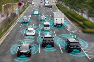 自動車のセンシングシステム Wall mural