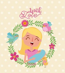 smiling mother and baby wreath flowers bird with love vector illustration