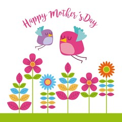 floral greeting card with little bird happy mothers day icon vector ilustration