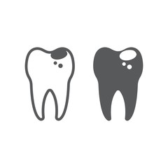 Sick tooth line and glyph icon, stomatology and dental, caries sign vector graphics, a linear pattern on a white background, eps 10.