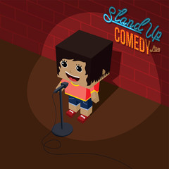 stand up comedy open mic female comic onstage isometric