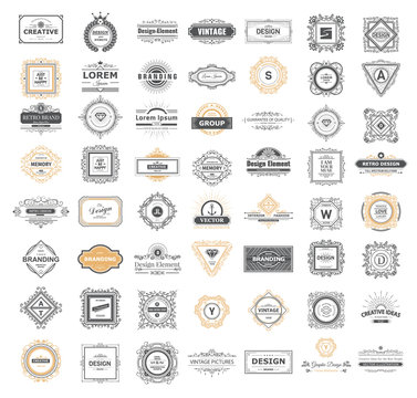 Set luxury monogram logo template with flourishes ornament elements. Elegant design for business sign, restaurant, wedding shop, jewelry, fashion. Vector illustration.