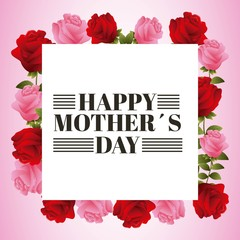 happy mothers day beautiful blooming red and pink rose flowers vector illustration