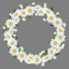 Beautiful chamomile wreath on beige background with place for your text