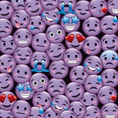 purple smile emoticons wallpaper happy cry sad smiling angry vector illustration