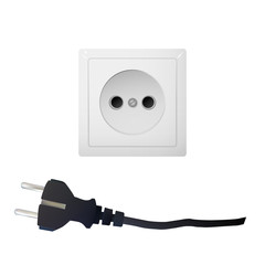 Electric white socket with plug. Electricity vector illustration. Household appliances.