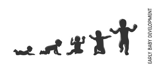 baby development icon, child growth stages. toddler milestones of first year. vector illustration