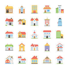 Pack Of Buildings Flat Vector Icons