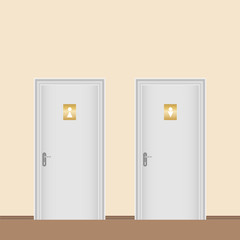 The doors of the toilet. Male and female toilet.