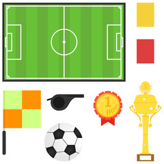 Stadium, soccer ball, sports trophy. Subjects for football.
