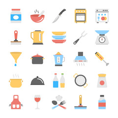 Kitchen Utensils Flat Vector Icons Pack
