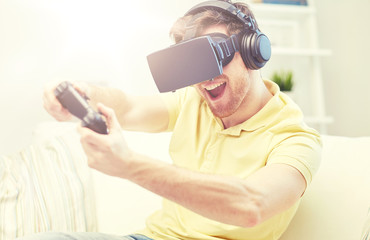 man in virtual reality headset with controller