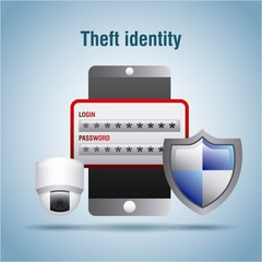 theft identity security access protection login password vector illustration