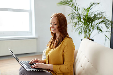 woman with laptop working at office