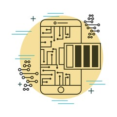 mobile phone charger battery circuits technology vector illustration