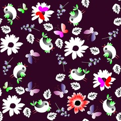 Contrast seamless natural pattern with leaves, flowers, butterflies and birds isolated on black background. Vector summer design.