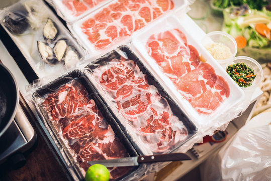 Frozen meat for consume in the foam tray,Raw material texture