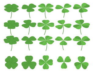 Set of green clover leafs, shamrocks. Symbol of St.Patrick's Day. Isometric flat vector illustration for design