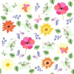 Seamless natural pattern for silk fabric in vector. Funny little birds, butterflies, green leaves, poppies and marigold flowers isolated on white background.