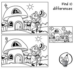 Funny leprechaun goes for a walk. Find 10 differences. Educational game for children. Black and white cartoon vector illustration