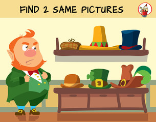 Help the leprechaun choose the right hat. Educational matching game for children. Cartoon vector illustration