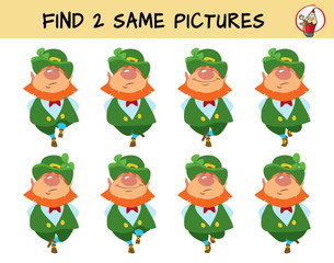 Leprechauns dance a jig. Find two identical leprechauns. Educational matching game for children. Cartoon vector illustration