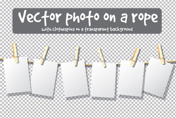 Mockup rope clothespins transparent isolated objects.