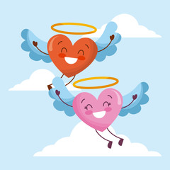 cute cartoon hearts love flyng wings in the sky vector illustration