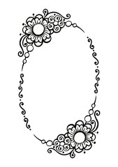black and white vector decorative oval frame