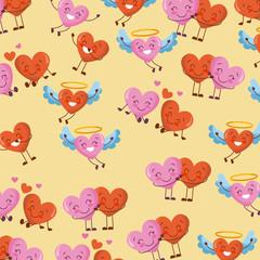 cute hearts kawaii cartoon love romantic pattern vector illustration