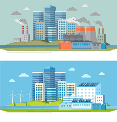 Old factory with smoke and pollution and a modern ecological factory with solar panels and wind energy. City landscape, ecological concept. Vector illustration in flat style, design template