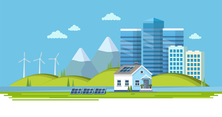 Green energy - landscape with wind power station, solar panels, small house, town view Ecology vector illustration in flat style, design template