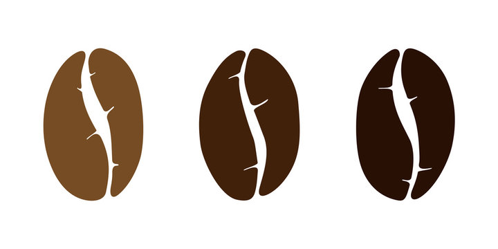 Brown coffee bean isolated set on white background