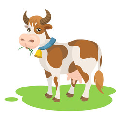 Vector cute cartoon cow eating grass farm animal illustration