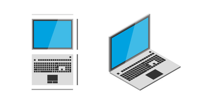Isometric vector notebook laptop
