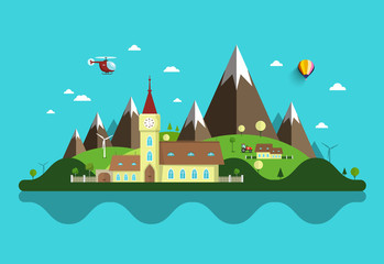 Photo sur Plexiglas Turquoise Flat Design Landscape. Abstract Vector Rural Scene with Castle and Mountains.