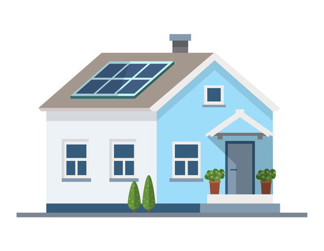 Small house with solar panels on the roof. Green energy, ecology vector illustration in flat style, design template