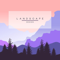 Beautiful peaceful mountain landscape in purple colors, nature background for banner, flyer, poster and cover, vector ilustration