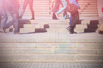 People walking on staircase