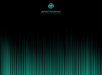 Abstract technology green light lazer lines vertical pattern on dark background.