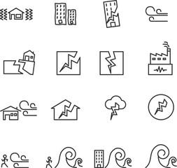 Earthquake Icon . line symbol vector illustration