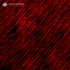 Abstract technology red light lazer lines diagonally pattern on dark background.