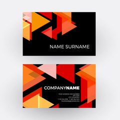 Vector abstract minimal geometric with arrows and triangles in red and black background. Business card