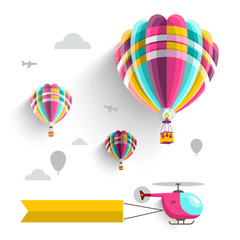 Hot Air Balloons and Helicopter on Sky. Vector Illustration Isolated on White Background.