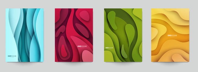 Set of minimal template in paper cut style design for branding, advertising with abstract shapes. Modern background for covers, invitations, posters, banners, flyers, placards. Vector illustration. Fotoväggar
