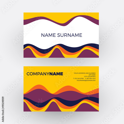 Vector Abstract Minimal Geometric With Waves In Yellow Vintage And Pop Background Business Card