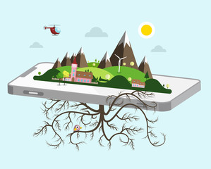 Landscape on Cellphone. Vector Nature Symbol.