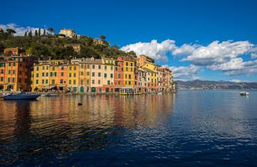 PORTOFINO, ITALY, FEBRUARY 13, 2018 - View of the city of of Portofino from the pier , Genoa (Genova) Province, Liguria, Mediterranean coast, Italy