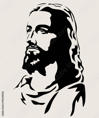 """Jesus Face Silhouette, art vector design"" Stock image and ..."