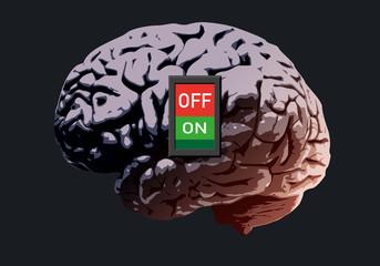 cerveau - Interrupteur - concept - intelligence - mort, burn-out, mentale, maladie, connexion